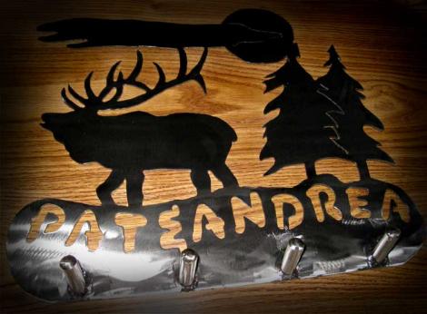 Bull elk silhouette coat rack
