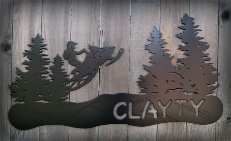 Personalized snowmobile wall art
