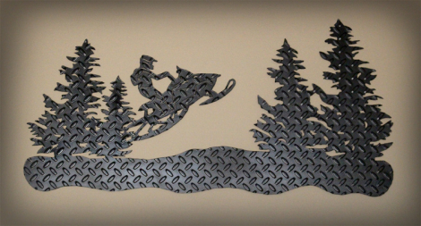 Snowmobile wall art on tread plate painted black