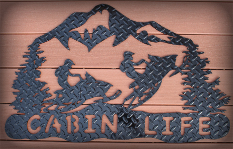 Cabin life wall sign with 2 snowmobiles