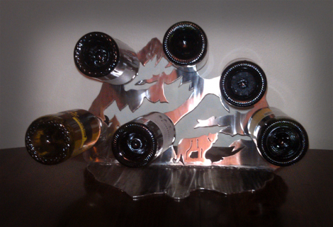 Mountain lion free standing wine rack