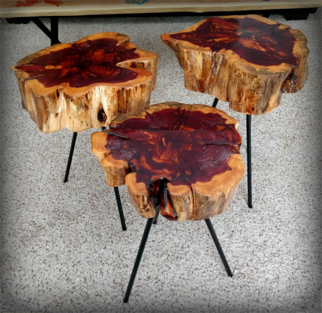 Red Cedar Epoxy End Tables