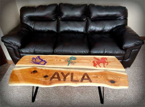 Personalized Epoxy River Coffee Table